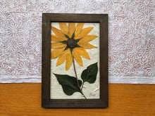 Real Dried Yellow Sunflower with Walnut Framed Wall Decor - Pressed Botanical Wall Hanging by Pressed Wishes, Canadian Artist
