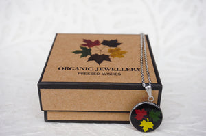 Maple Leaf Pendant Necklace comes in a custom made Pressed Wishes Organic Jewellery Box