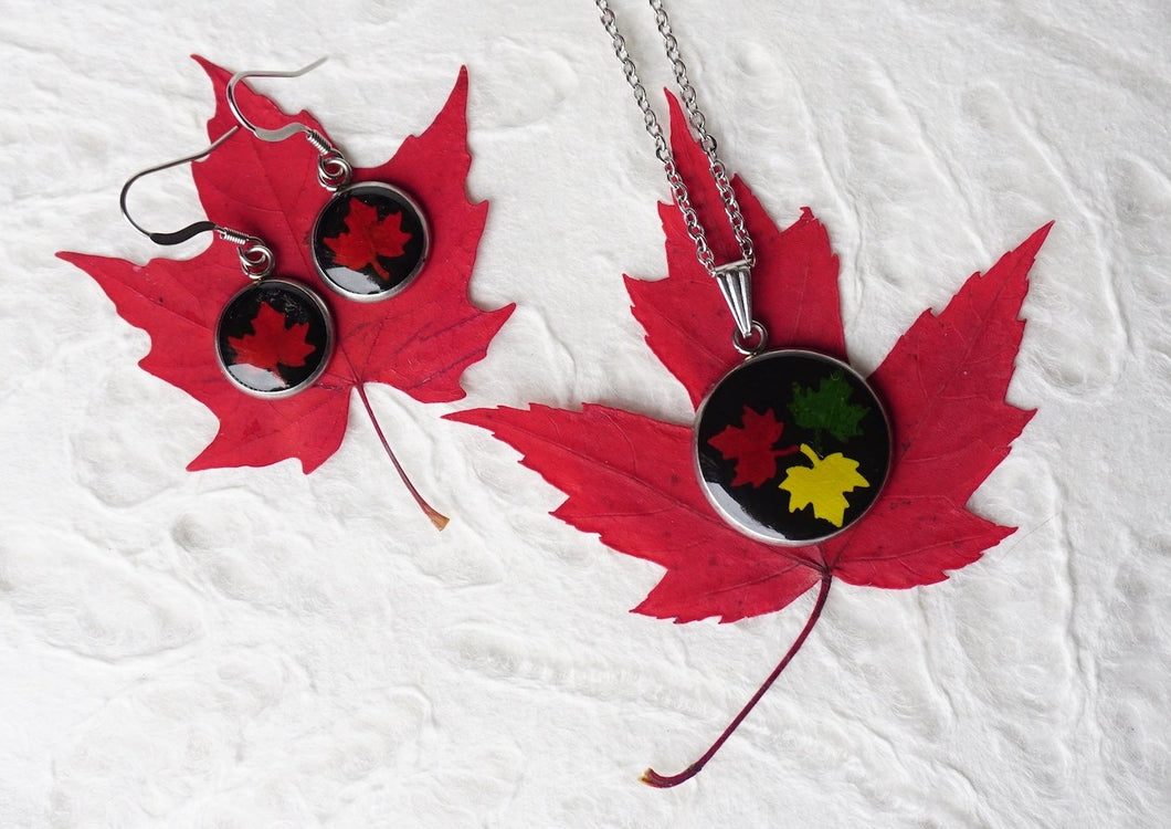 Real Pressed Maple Leaf Pendant Necklace and Earring Set by Pressed Wishes