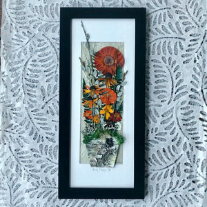 real pressed flower framed artwork orange gerbera daisy birch planter pot by Pressed Wishes