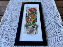 Vibrant orange flower pressed botanical artwork framed home decor inspired by nature