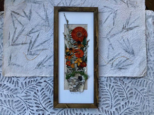 Real Pressed Orange Flower Birch Planter Pot Framed Artwork by Canadian Artists James and Melissa of Pressed Wishes