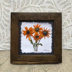 dried black eyed susan flower framed artwork in walnut frame