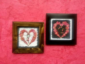 Dried Flower Artwork; pressed bleeding heart in heart shape; perfect for valentines day