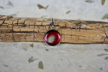 Real Pressed Bunnytail in Resin - Red background, silver stainless steel necklace by Pressed Wishes | Organic Jewellery, Nature's Wearable Art