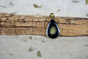 Teardrop Botanial Necklace - Bunnytail Pendant by Pressed Wishes