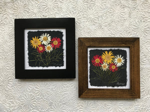 Dried Flowers; Pressed multi color daisy framed artwork; made with handmade paper; black and brown frame
