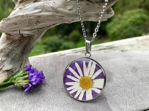 REAL Pressed Daisy on Purple Handmade Paper by Pressed Wishes - Silver Stainless Steel Necklace