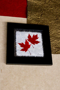 Pressed double maple leaf home decor