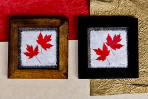 real pressed red maple leaf framed artwork by Pressed Wishes