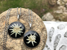 pressed edelweiss necklace with hypoallergenic stainless steel