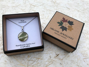 pressed fern pendant; floriography the language of flowers; confidence & health