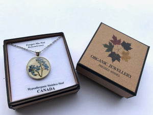 forget me not pendant comes in a beautiful box with its related meaning; floriography