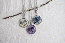 pressed forget me not flower pendant necklace made by Pressed Wishes