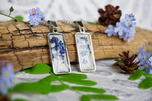 Woodland Jewelry handcrafted by Pressed Wishes. Real Blue Forget Me Not Flower Bar Necklace Pendant - Botanical Jewelry