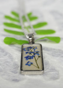 Forget Me Not Bar Necklace - Resin Real Flower Jewelry by Pressed Wishes, Canadian Botanical Artist