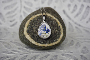 Real Pressed Blue Forget me not flower teardrop necklace by Pressed Wishes - proudly handmade in Canada