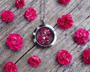 Real Dried fuschia Hawthorne flower circle locket made of silver stainless steel and glass by Pressed Wishes
