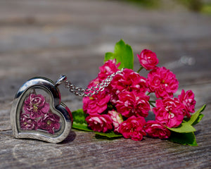 Real Dried Pink Hawthorne Flower Locket Necklace by Pressed Wishes