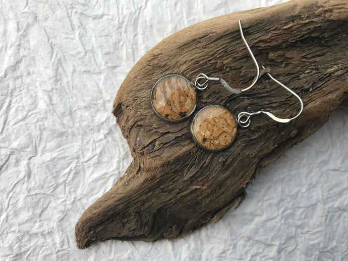 pressed lichen stainless steel earrings sealed in eco resin