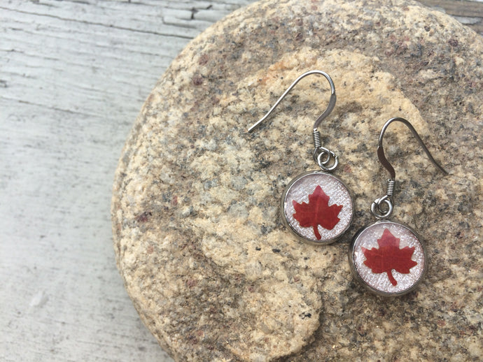 Maple Leaf Dangle Earrings 'Modesty & Unity'