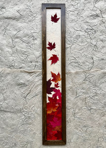 THE SKINNY Red maple leaf framed artwork with walnut frame; handcrafted in canada