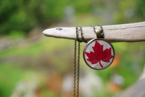 Real Dried Maple Leaf Resin Pendant Necklace - Canadian Souvenir handmade in Canada - Real Leaf jewelry by Pressed Wishes