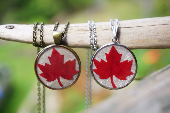 Real Pressed Red Canadian Maple Leaf Pendant Necklace by Pressed Wishes
