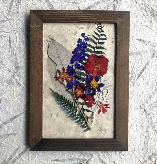 Real Pressed Flower Framed Artwork Bouquet Arrangement by Pressed Wishes