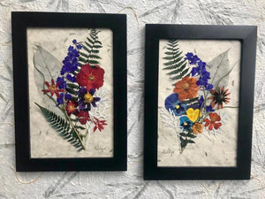 Pressed Flowers grown in the Okanagan, BC are turned into beautiful pieces of artwork by James and Melissa of Pressed Wishes