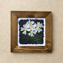 pressed musk mallow framed art with walnut frame
