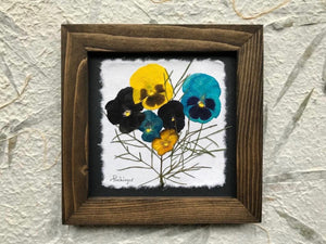 REAL Pressed pansy framed artwork with handmade walnut frame by Pressed Wishes