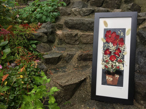signed original artwork made by Pressed Wishes - Rose Birch Planter Pot Pressed Flower Framed Artwork