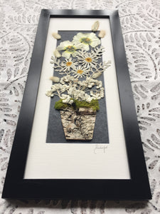 pressed daisy framed artwork with hollyhocks and pearly everlasting