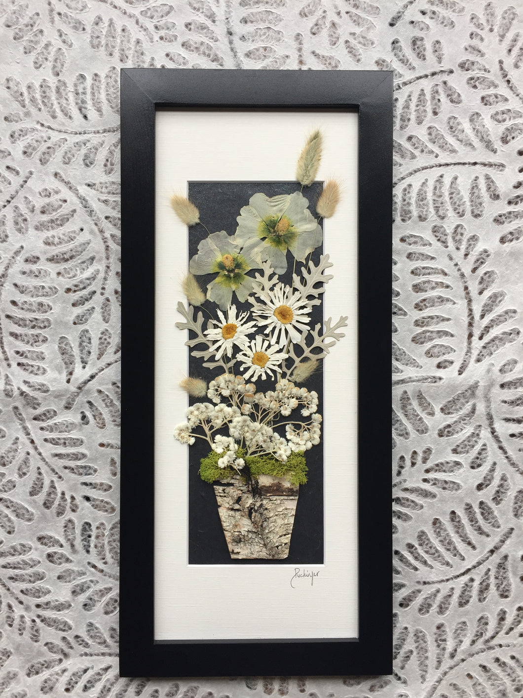 daisy birch planter pot framed artwork with black frame made by Pressed Wishes