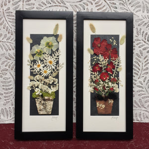 framed pressed flower arrangement - signed original framed artwork