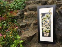 pressed daisy framed artwork in a birch planter pot by Pressed Wishes