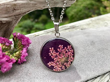 Pink Queen Anne's Lace on Purple Handmade Paper Resin Necklace by Pressed Wishes