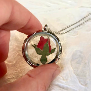 Real pressed red rose flower necklace by Pressed Wishes