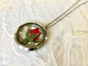 Give the gift of love with this real pressed red rose circle locket necklace pendant handmade in Canada by Pressed Wishes