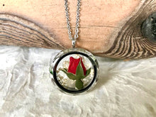 Real pressed rosebud circle locket necklace by Pressed Wishes