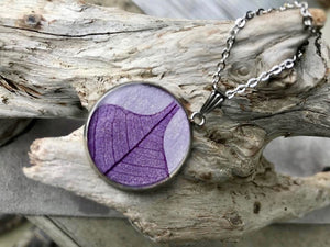 Real purple skeletized leaf resin pendant on handmade purple paper - silver stainless steel pendant by Pressed Wishes