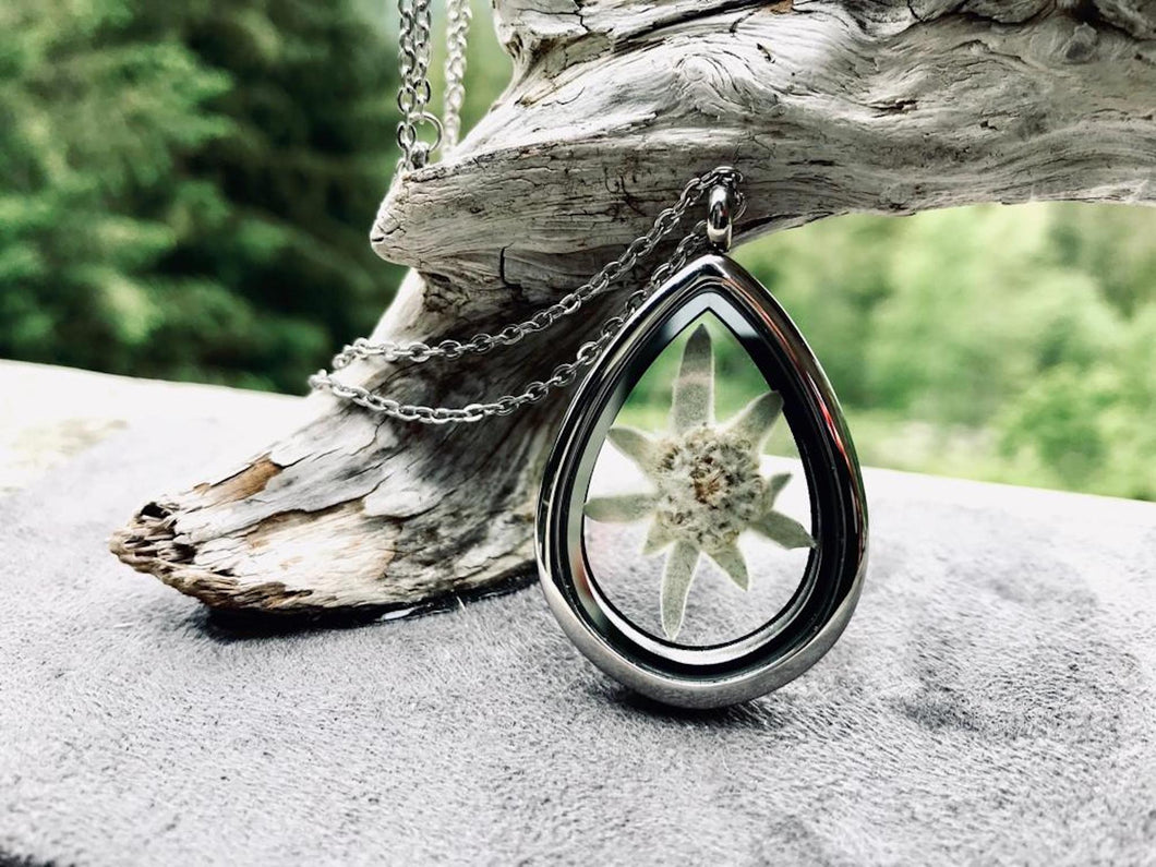 real pressed edelweiss stainless steel locket necklace by Pressed Wishes - Canadian Artisan