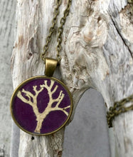 'Tree of Life' Lichen Purple Handmade Pendant by Canadian Maker, Pressed Wishes