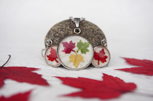 Real Pressed Maple Leaf Necklace and Earring Resin Set by Pressed Wishes, Canadian Artists