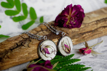 Real Pressed Rose Bud Necklace Pendant with Silver Stainless Steel by Pressed Wishes