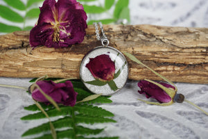 Real Rose Bud Flower Pendant Necklace by Pressed Wishes