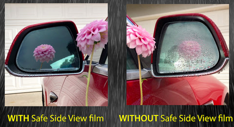 Tesla Model 3 side view mirror with vs without Safe Side View film