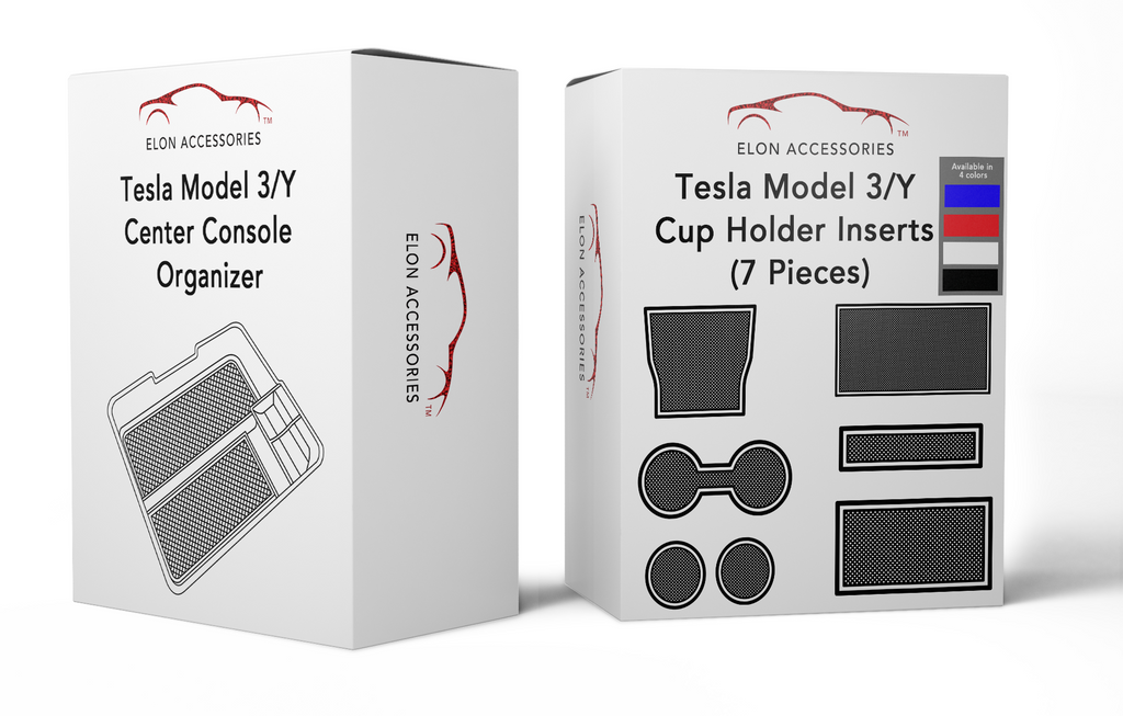 Tesla Model 3/Y Organizer + 7 Piece Cup Holder Insert (Bundle)