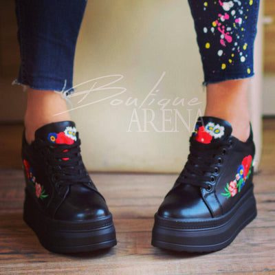 Обувки aster - flower bouquet black